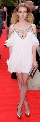 Who made Emma Roberts' white dress and clutch that she wore t at the premiere of her new movie, 4.3.2.1 in England? Dress –  Temperley London  Purse – Rene Caovilla