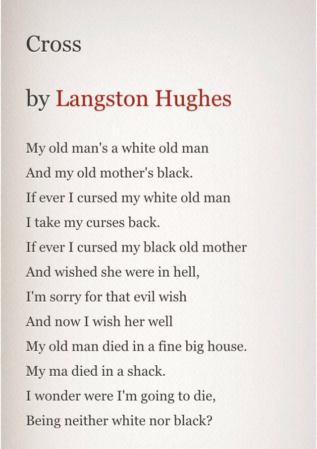 the discrimination of afro americans in the poem theme for english b by langston hughes Langston hughes hughes,  after hughes earned a ba degree from lincoln university in 1929,  hughes's poem 'goodbye,.