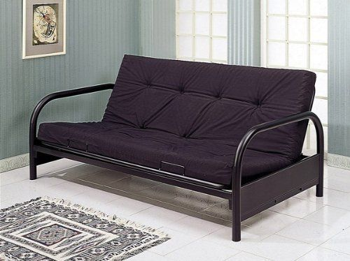 Coaster Modern Futon Sofa/Couch Frame, Black Metal by Coaster Home Furnishings. $142.77. Finish: Black. Includes Futon frame only. Modern Black Metal Futon Sofa/Couch Frame. You are looking at a brand new Futon Sofa/Couch Black Metal Frame in modern round tubing design with armrest. This is a strong and durable futon frame that is built to last. With the convenience of a couch/sofa, the futon opens up to become a full sized bed for convenient comfort. This item inclu...