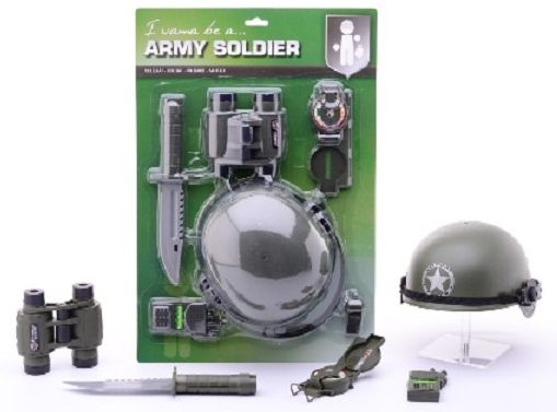 Soldaat verkleedset voor kinderen. Soldaten verkleedset voor kinderen met allerlei leger accessoires zoals een helm, verrekijker en mes.