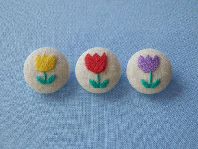 お花が咲いたよ くるみボタン チューリップ