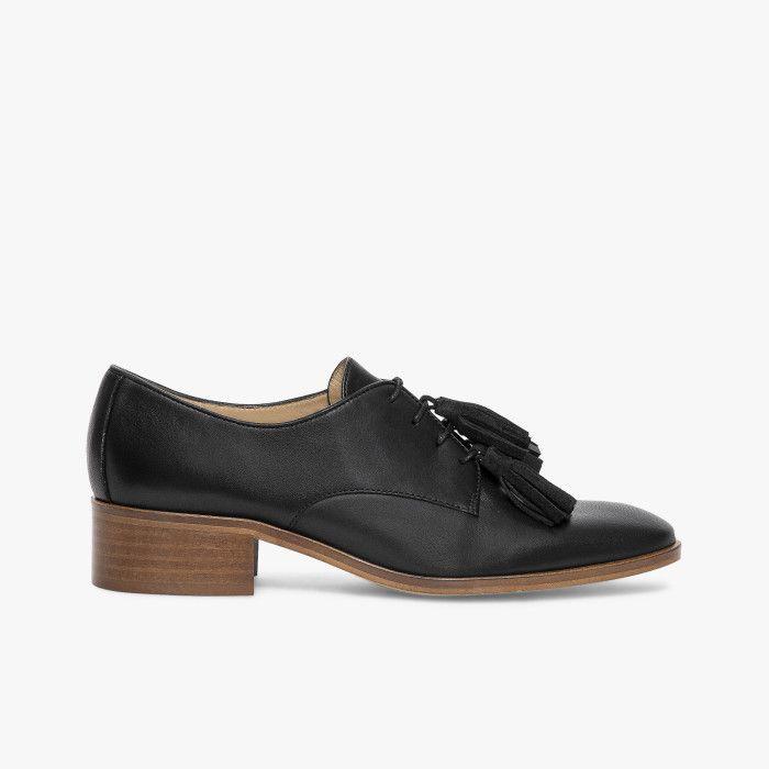 Bocage - Derby noir en cuir lisse avec pompons