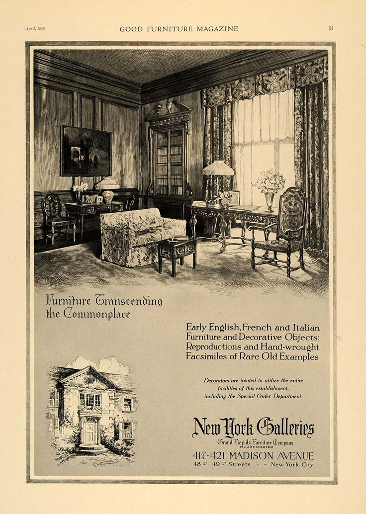A 1920 Advertisement By New York Galleries, A Grand Rapids Furniture  Company Gallery In The
