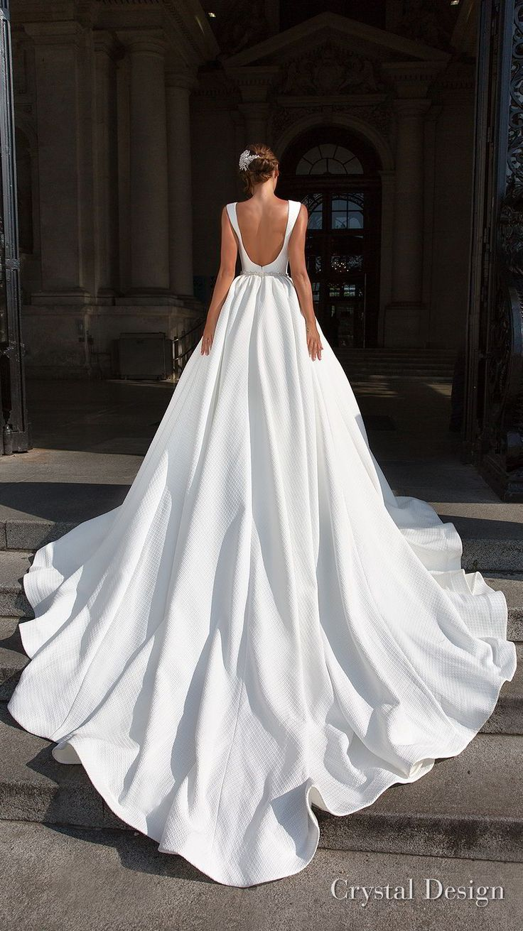crystal design 2018 sleeveless deep v neck simple princess elegant ball gown a  …
