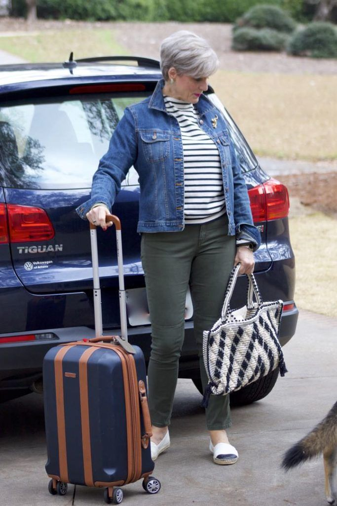 boden green cargo pants, st. james striped tee, old navy jean jacket, tory burch espadrilles