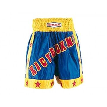 Kickboxing shorts made of medium weight 100% polyester satin with elastic and draw string waist with patch work.