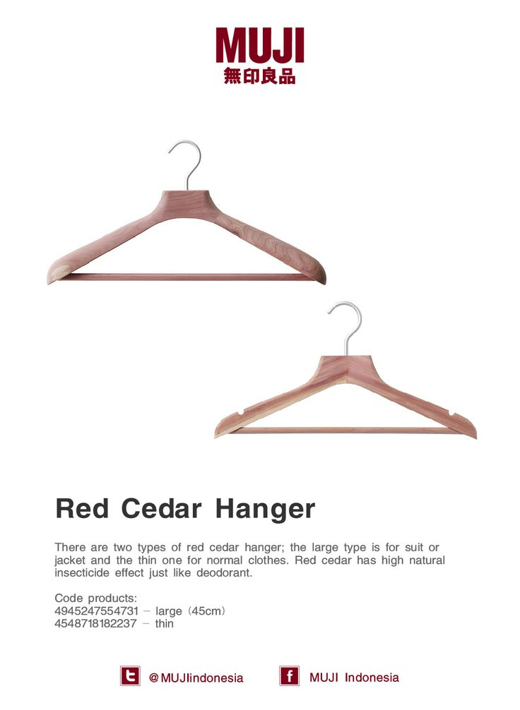[Red Cedar Hanger] Red cedar has high natural insecticide effect just like deodorant. Available in large & thin size.