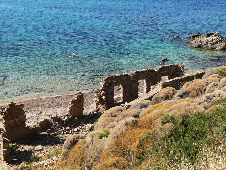 ancient ruins by the sea, Lesvos, Greece