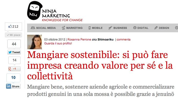 Il nostro CEO Giacomo è stato intervistato dai Ninja Marketing. Guardate quante condivisioni in poche ore per questo articolo.  http://www.ninjamarketing.it/2012/10/03/jenuino/