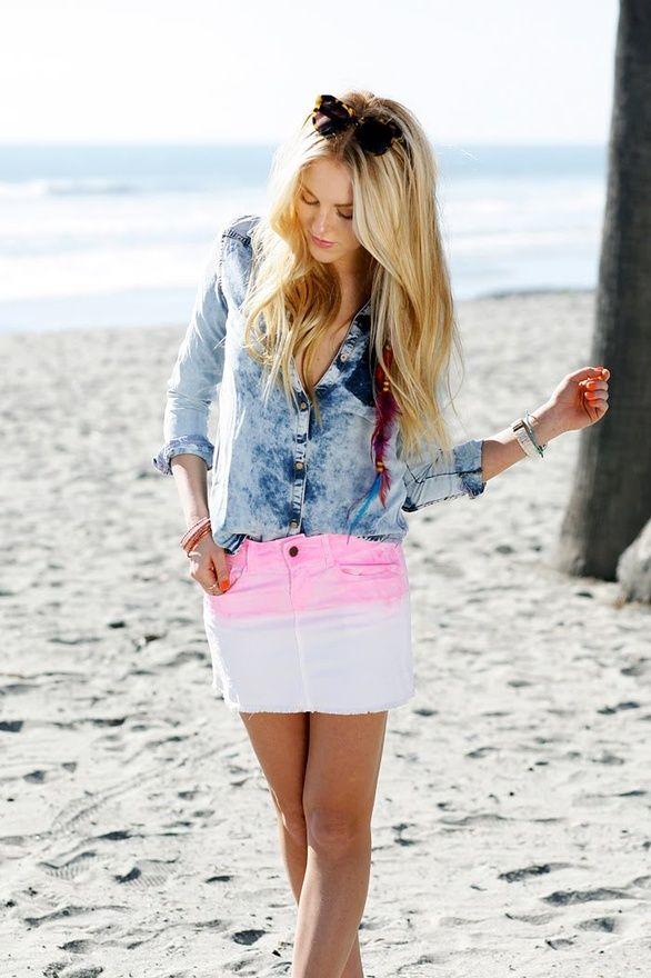neon dip dye skirt!