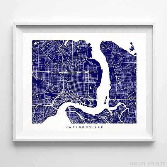 Jacksonville Map Florida Print Jacksonville Poster Florida Etsy In 2020 Map Wall Art Jacksonville Map Street Map