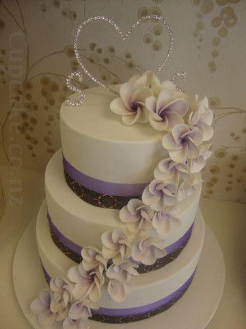 Purple frangipani wedding cake