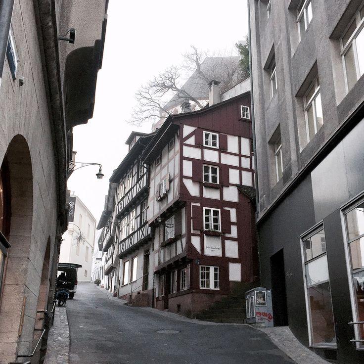 basel switzerland europe medieval houses street oldtown