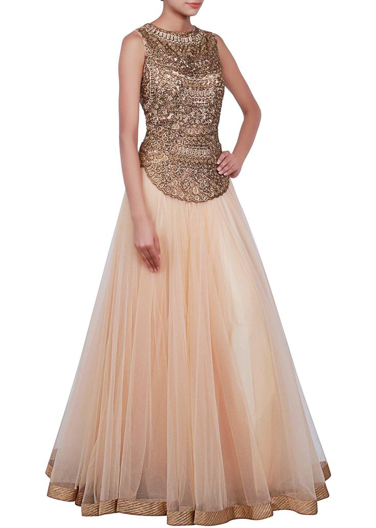 Beige gown features with kundan embellished bodice only on Kalki