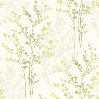 Fern Motif Green (250401) - Arthouse Wallpapers - A pretty finely detail fern frond design with a subtle shaded effect in greens.  Other colours available. Please request sample for true colour match.