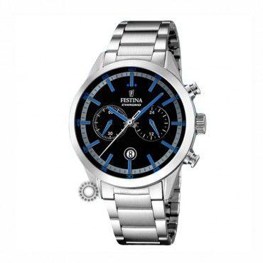 F16826/5 Ανδρικό σπορ quartz ρολόι FESTINA χρονογράφος, με μαύρο-μπλε καντράν & μεταλλικό μπρασελέ | Ανδρικά ρολόγια FESTINA ΤΣΑΛΔΑΡΗΣ στο Χαλάνδρι #Festina #χρονογραφος #μαυρο #μπρασελε #ρολοι