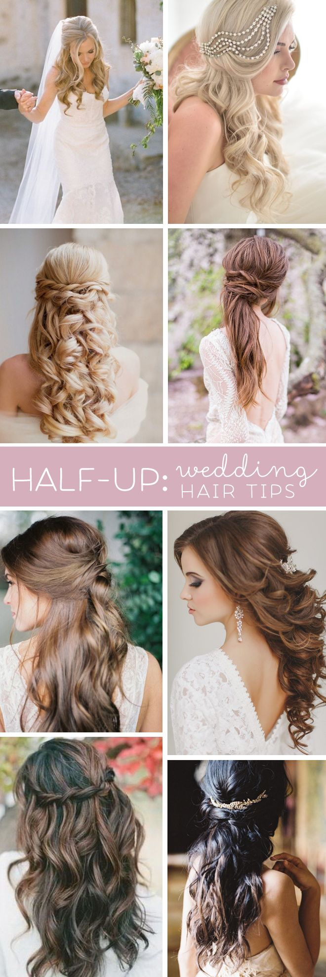 Terrific tips for wearing half-up hair styles for your wedding.. Don't forget personalized napkins for all of your wedding events! From the engagement party to the reception! www.napkinspersonalized.com