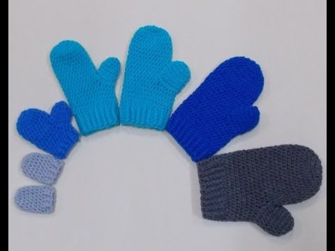 ▶ How to crochet mittens - video tutorial for beginners - YouTube