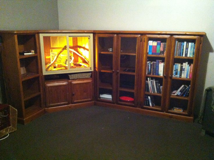 Corner entertainment center/bookcase made into a custom ...