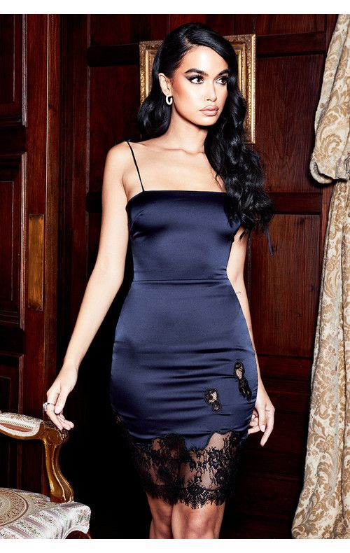 08f07dfe43f Clothing   Bodycon Dresses    Salma  Midnight Blue Satin and Lace Dress