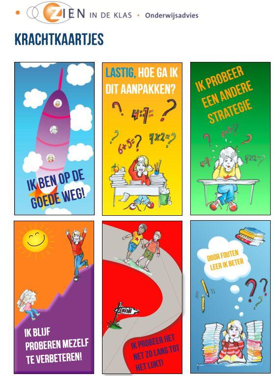 Krachtkaarten voor kinderen, ter ondersteuning van het leerproces.