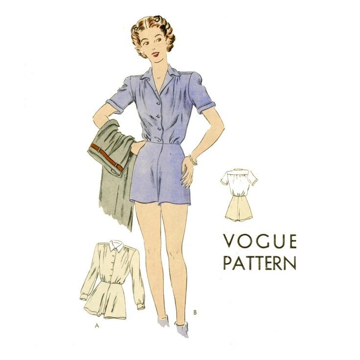 1940s Blitzies Pattern Vogue 9617 Misses Blouse Shorts Panties Romper Bust 34 or 40 Womens Vintage Sewing Pattern UNCUT. $68.00, via Etsy.
