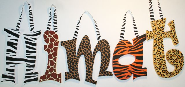 Animal Print Wall Letters-jungle print letters, cheetah print wall letters, leopard print nursery decor, giraffe print decorative letters, zebra print wall letters