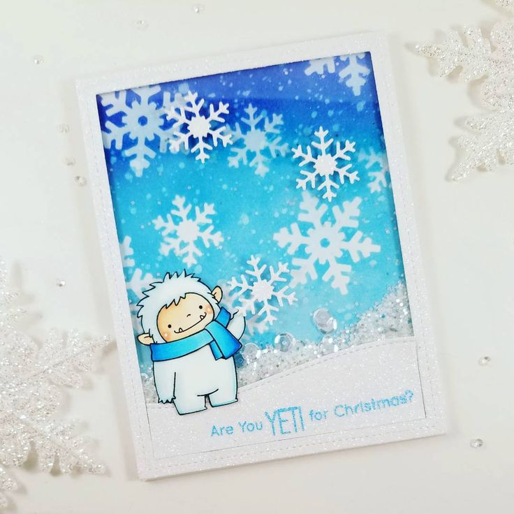 Are you getting Yeti for Christmas ❄❄❄? I'm working hard to make holiday cards for my family and friends.  And I can't forget about my my crafty friends here☃❄⛄. I used products from @mftstamps and #prettypinkposh #sequins.  #mftstamps #shakercard #papercrafts
