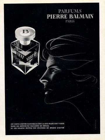 Pierre Balmain (Perfumes) 1948 Vent Vert - interesting placement of label; note apparent glass(?) stopper with B. Note font.