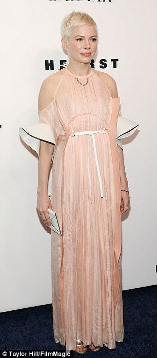 Relies on stylist Kate Young: The 37-year-old actress' cold-shoulder creation featured a h...