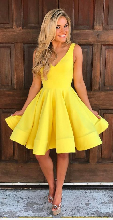 short ball gowns dress, v neck homecoming dress,yellow