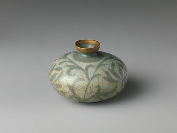 "Oil bottle decorated with peony leaves, late 12th century.  Goryeo dynasty (918–1392). Korea. The Metropolitan Museum of Art, New York. Rogers Fund, 1917(17.175.9) | This work is exhibited in the ""Expressions of Nature in Korean Art"" exhibition, on view through September 18,2016."