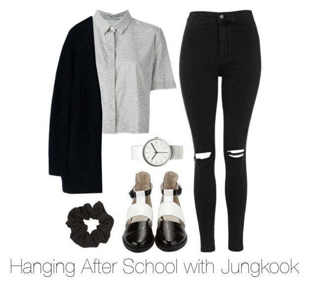 """""""Hanging After School with Jungkook"""" by btsoutfits ❤ liked on Polyvore featuring Topshop, T By Alexander Wang, Acne Studios and Uniform Wares"""