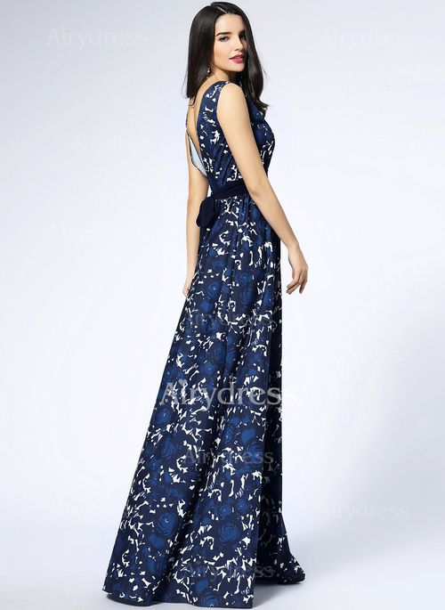 Szyfon Koronka Kwiatowy Bez rękawów Maxi Vintage Sukienki (1033248) @