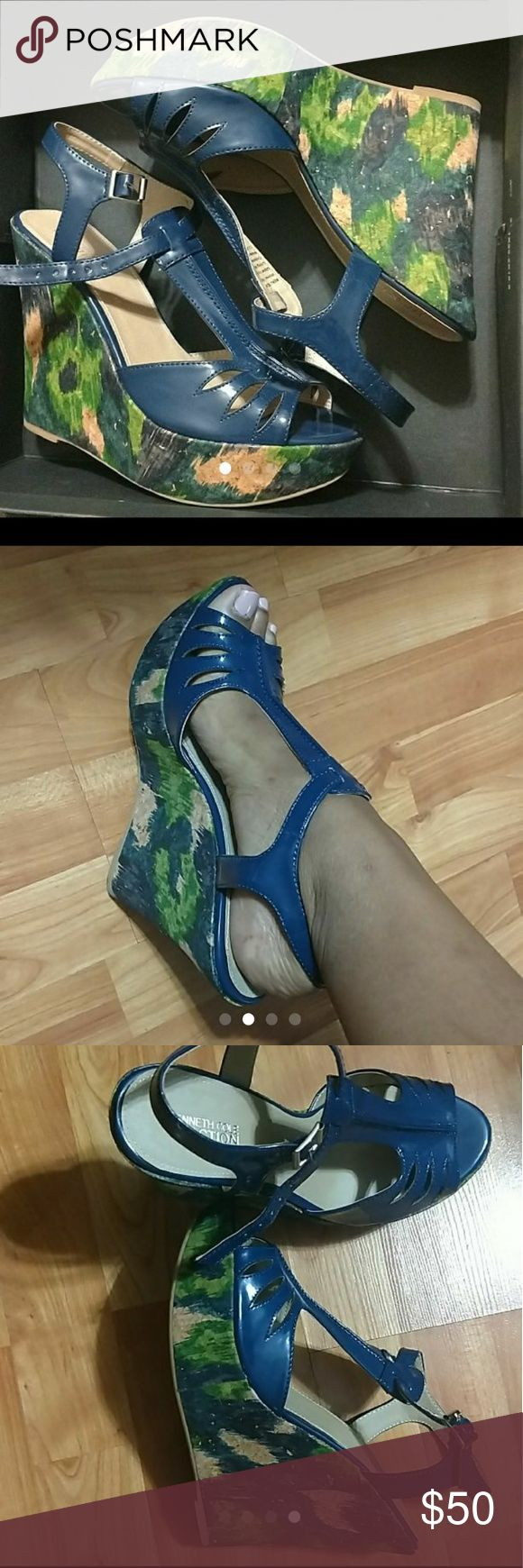 Kenneth cole reaction wedges Size: 8.5 med. Color: navy Blue, Armada green  Condition: Never worn, only took out of box for pictures 3.5 inch wedge Has grip to the bottom of the shoe for any surface Kenneth Cole Reaction Shoes Wedges