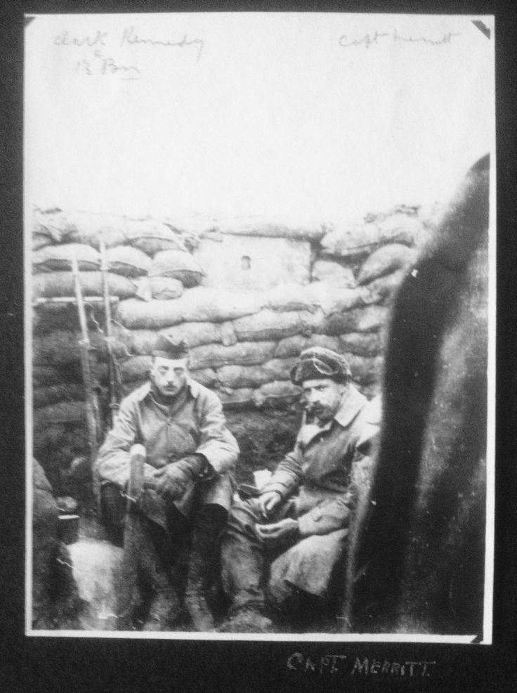 Photo taken in 1915, Ypres salient, 1st Canadian Division front. On the left is Capt. William H. Clark-Kennedy of the 13th Battalion. The officer on the right is Capt. Cecil M. Merritt, of the 16th Battalion, who was killed during the fighting at Kitchener's Wood during the Second Battle of Ypres in April 1915. Clark-Kennedy would win the V.C. at the Battle of Arras in August 1918. #RememberThem