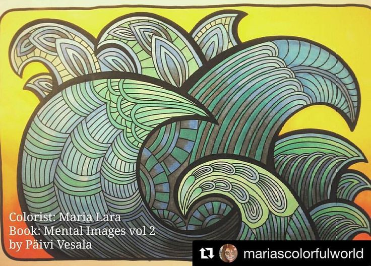 "Mental Images Coloring Books (@paivivesala_art) on Instagram: ""How cool is this colouring by @mariascolorfulworld 😎 I just love it 💙💚💛👌🏻 #mentalimages_vol2…"""