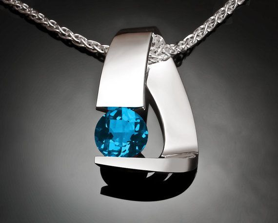 Blue Topaz Necklace  Silver Necklace  by VerbenaPlaceJewelry