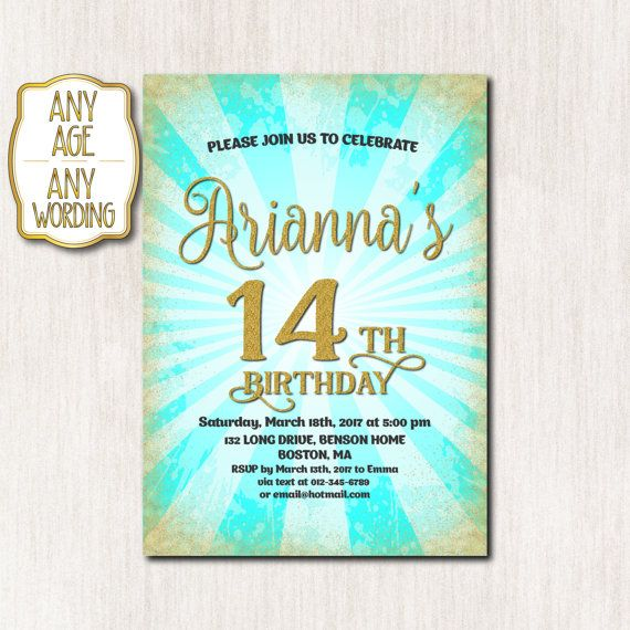 1000 images about Teen birthday invitations – 14th Birthday Invitations