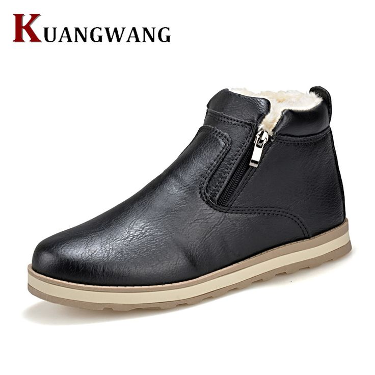 Autumn Winter Men Warm Snow Boots Genuine Leather Casual With Short Plush  Ankle Boots Height Increasing Rubber Zip Men Shoes