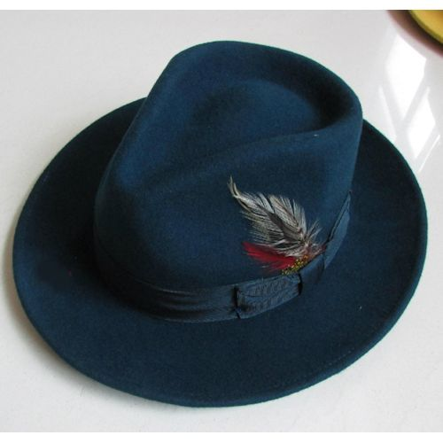 Navy Blue Australian Wool Dress Fedora Hat SKU-159068