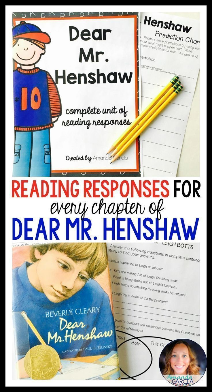 Dear Mr. Henshaw by Beverly Cleary is a wonderful book for a novel study! This engaging, touching story provides many opportunities for students to use their comprehension strategies and connect to the text. This unit gives your students thoughtful Common Core aligned reading responses and activities for each chapter.