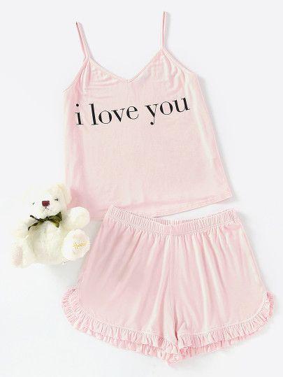 Slogan Print Cami Top And Frill Hem Shorts Pajama Set