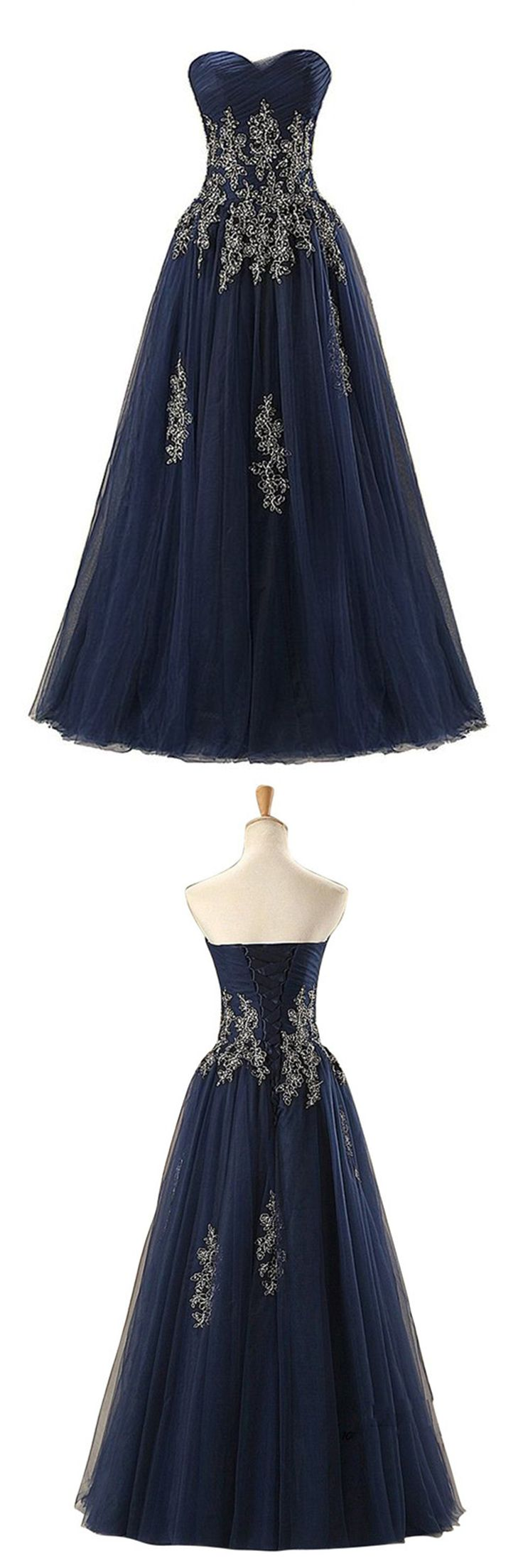 Elegant navy blue tulle long evening gown