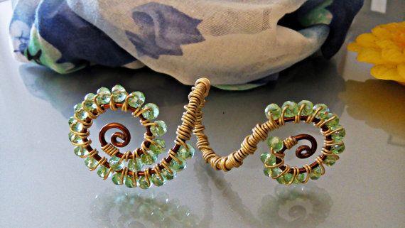 Brooch-stops scarf wire copper and gold/Spilla-ferma sciarpa wire rame-oro con cristalli/ Ferma sciarpa gioiello fatta a mano con cristalli