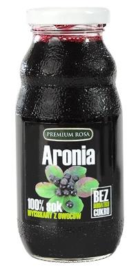 Sok z aroni. Chokeberry juce. Sok z wycisnietych owoców aronii, bez żadnych dodatków, pasteryzowany. Aronia jest znanym owocem zalecanym na nadciśnienie. Jest też bogata w witaminy i mikroelementy.