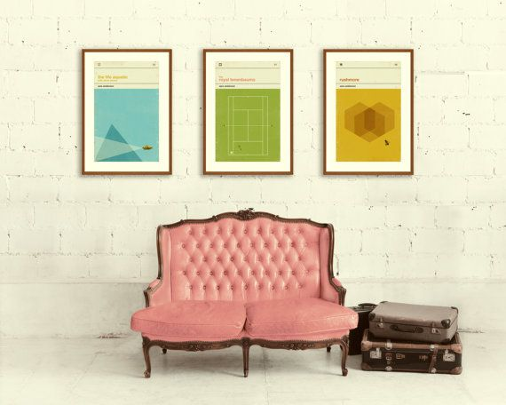 WES ANDERSON Inspired Posters, Art Print Movie Poster Series - 12 x 18 Minimalist, Graphic, Mid Century Modern, Vintage Style, Retro Home via Etsy