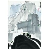 Wu Guanzhong - WATERFALL IN MOUNT HUANGSHAN, ink... on MutualArt.com