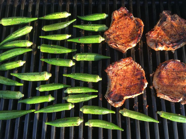 Fired up that #grill! Pork chops with smoked applewood rub. Okra with montreal steak spice #happysundayeveryone
