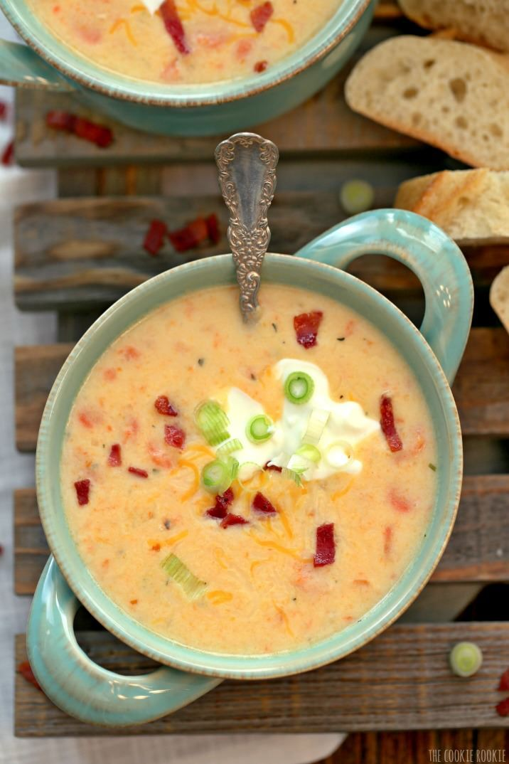 Slow Cooker Skinny Loaded Potato Soup, healthy comfort food!!! | The Cookie Rookie